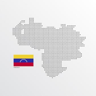Diseño de mapa de venezuela con bandera y vector de fondo claro