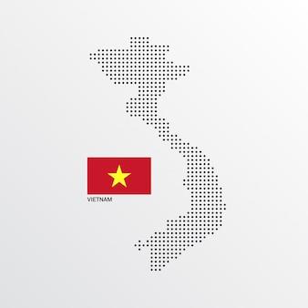 Diseño de mapa de vietnam con bandera y vector de fondo claro
