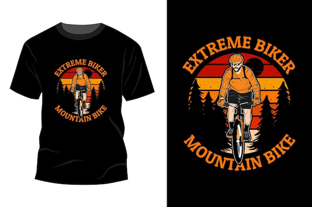 Diseño de maqueta de camiseta de bicicleta de montaña de motociclista extremo retro vintage