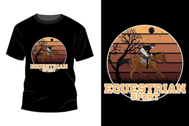 Diseño de maqueta de camiseta de deporte ecuestre vintage retro