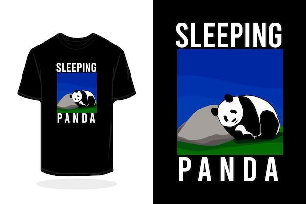 Diseño de maqueta de camiseta de ilustración de panda durmiendo