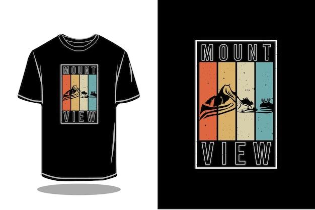 Diseño de maqueta de camiseta retro de silueta de vista de montaje