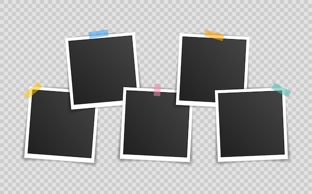 Diseño de maqueta de marco de foto. super set marco de fotos en cinta adhesiva aislada sobre fondo transparente.