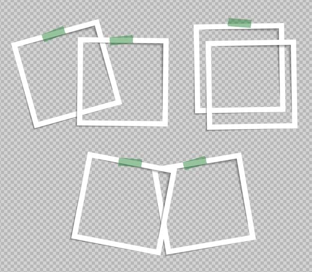 Diseño de maqueta de marco de fotos en cinta adhesiva aislada sobre fondo transparente