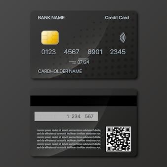 Diseño de maqueta de tarjetas de crédito en la parte delantera y trasera con sombra