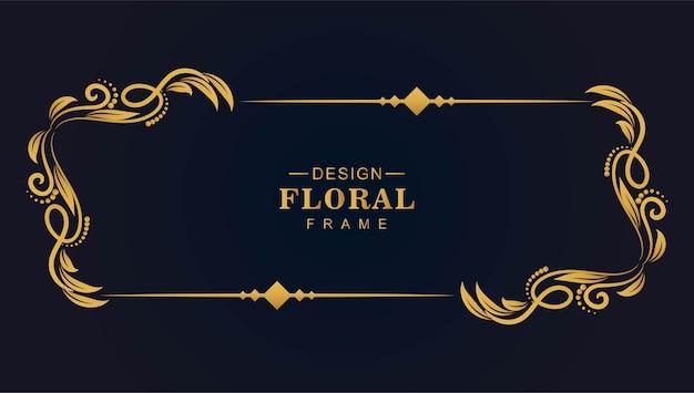 Diseño de marco artístico floral dorado