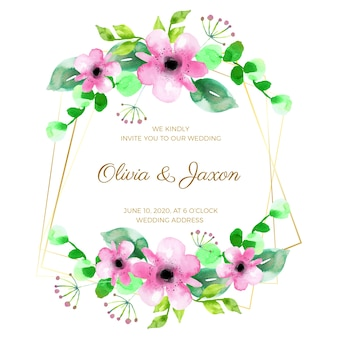 Diseño de marco de boda floral
