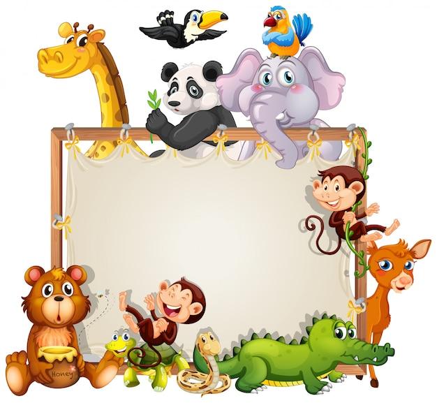 Diseño de marco de borde con fondo de animales lindos