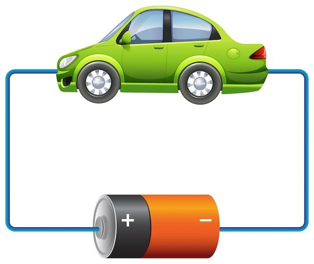 Diseño de marco con coche y batería