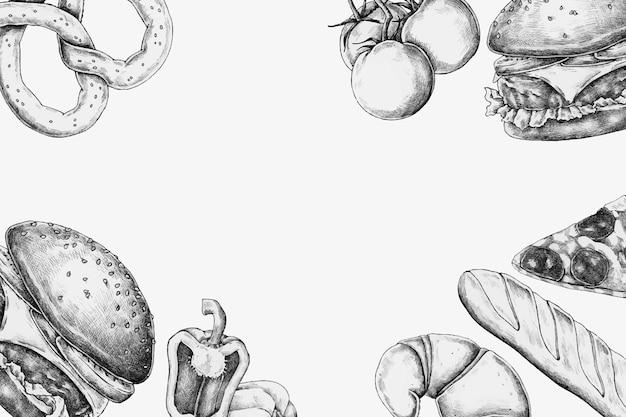 Diseño de marco de comida chatarra en blanco