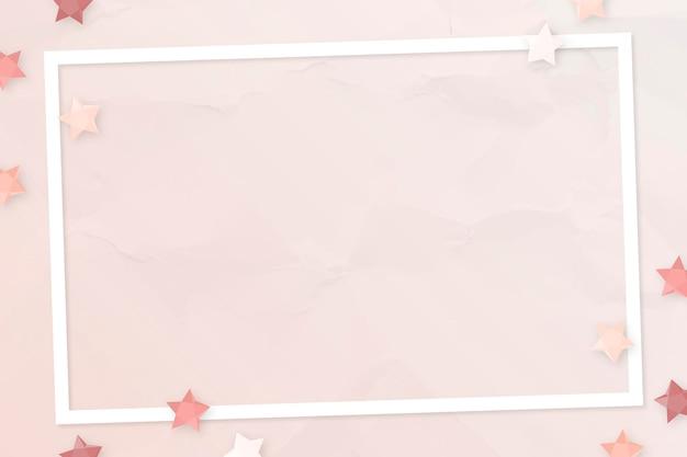 Diseño de marco de estrellas rosa