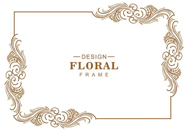Diseño de marco floral artístico decorativo