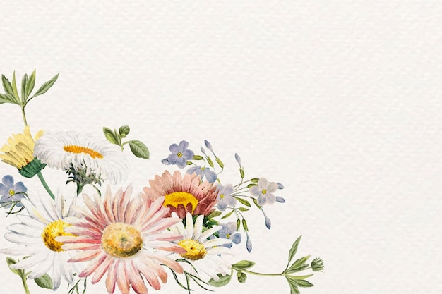 Diseño de marco floral en blanco