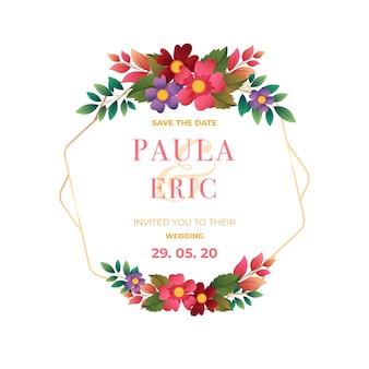 Diseño de marco floral de boda