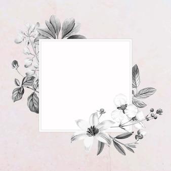 Diseño de marco floral cuadrado en blanco
