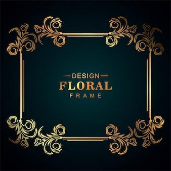 Diseño de marco floral decorativo dorado ornamental