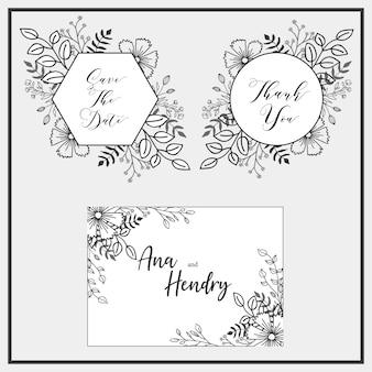 Diseño de marco floral dibujado a mano