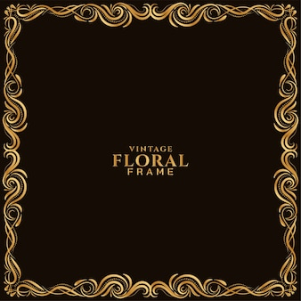 Diseño de marco floral dorado hermoso fondo