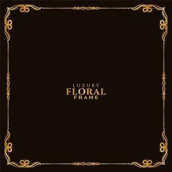 Diseño de marco floral dorado ornamental fondo real