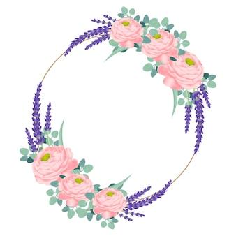 Diseño de marco floral con rosa ranunculus y flores de lavanda.