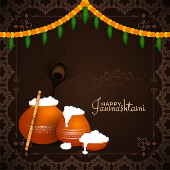 Diseño de marco de fondo feliz festival de janmashtami