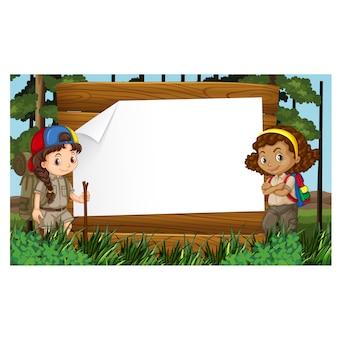 Diseño de marco de girl scouts