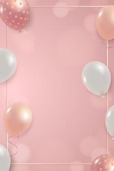 Diseño de marco de globos blancos y rosas.