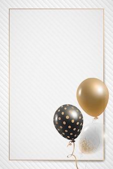 Diseño de marco de globos rectangulares dorados.