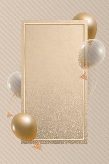 Diseño de marco de globos de rectángulo dorado