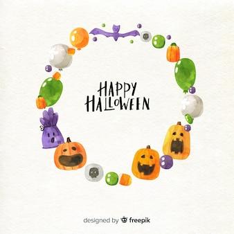 Diseño de marco de halloween acuarela