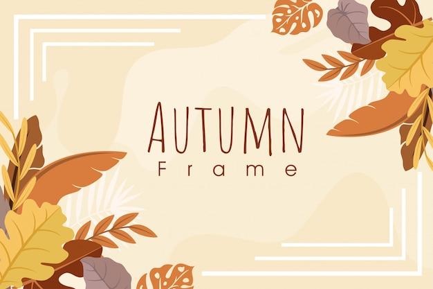 Diseño de marco de hoja de otoño