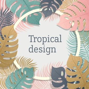 Diseño de marco de hoja tropical en colores pastel.