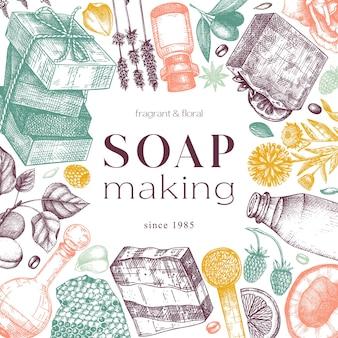 Diseño de marco de jabón orgánico en colores materiales e ingredientes aromáticos dibujados a mano
