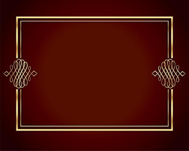 Diseño de marco de lujo en color dorado.