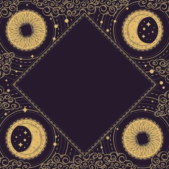 Diseño de marco místico dibujado a mano