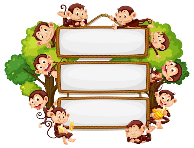 Diseño de marco con muchos monos alrededor del borde