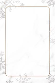 Diseño de marco de navidad de copo de nieve sobre fondo blanco.