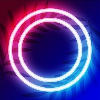 Diseño de marco de neón circular con espacio de texto