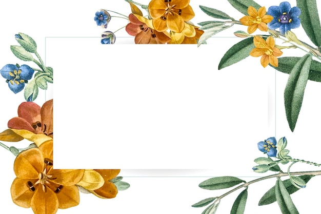 Diseño de marco rectangular floral