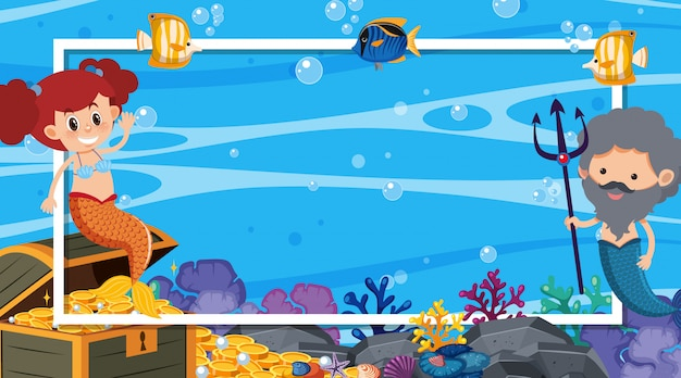 Diseño de marco con sirena y peces nadando en el mar