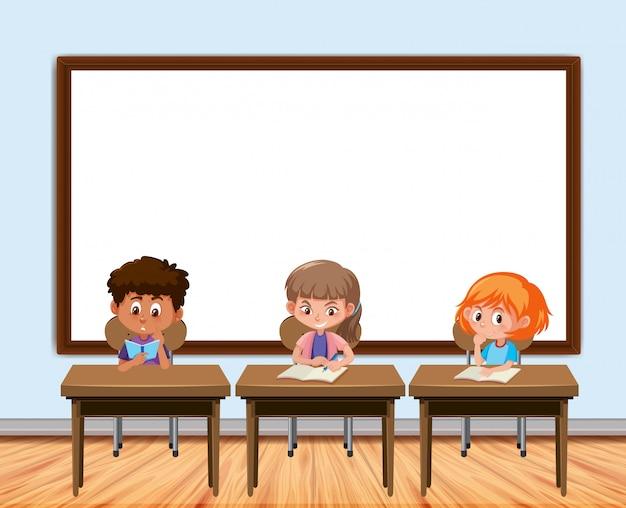 Diseño de marco con tablero y estudiantes en el aula