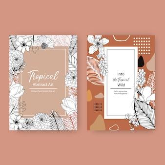 Diseño de marco tropical de arte lineal con flores y hojas ilustración dibujada a mano.