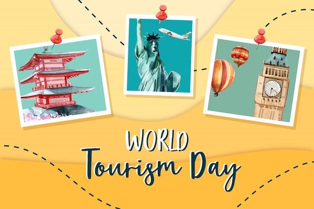 Diseño de marco turístico con pagoda, la estatua de la libertad, torre del reloj
