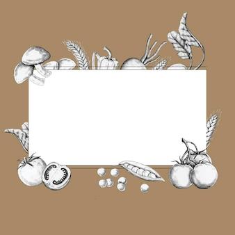 Diseño de marco vegetal en blanco