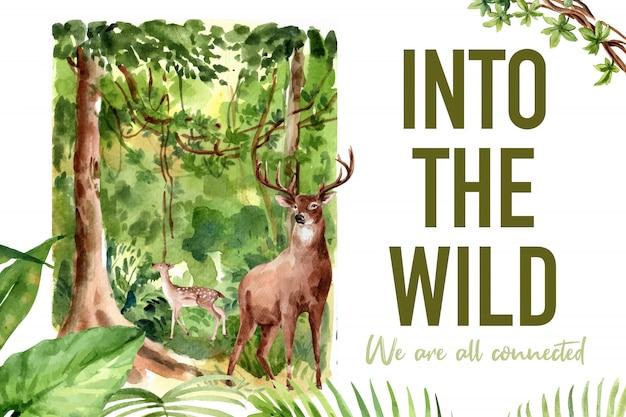 Diseño de marco de zoológico con árbol, ilustración acuarela de ciervos.