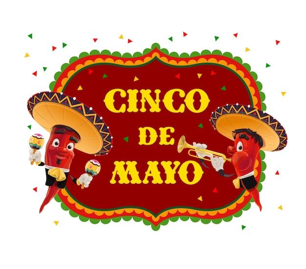 Diseño de mariachi de pimienta de la fiesta mexicana del cinco de mayo