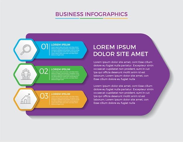 Diseño y marketing de infografías. concepto de negocio con 3 opciones, pasos o procesos.