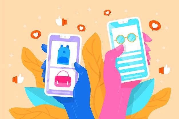 Diseño de marketing en redes sociales con teléfono