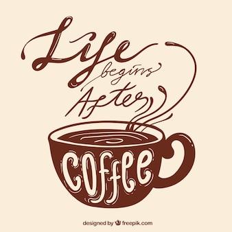 Diseño marrón de café con lettering