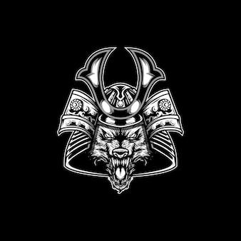 Diseño de mascota animal samurái